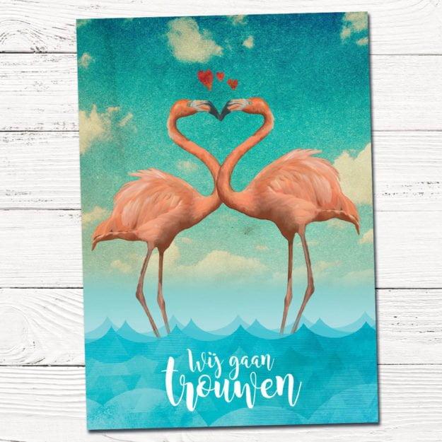 huwelijkskaartje met flamingo's | trouwkaart | trouwen | liefde