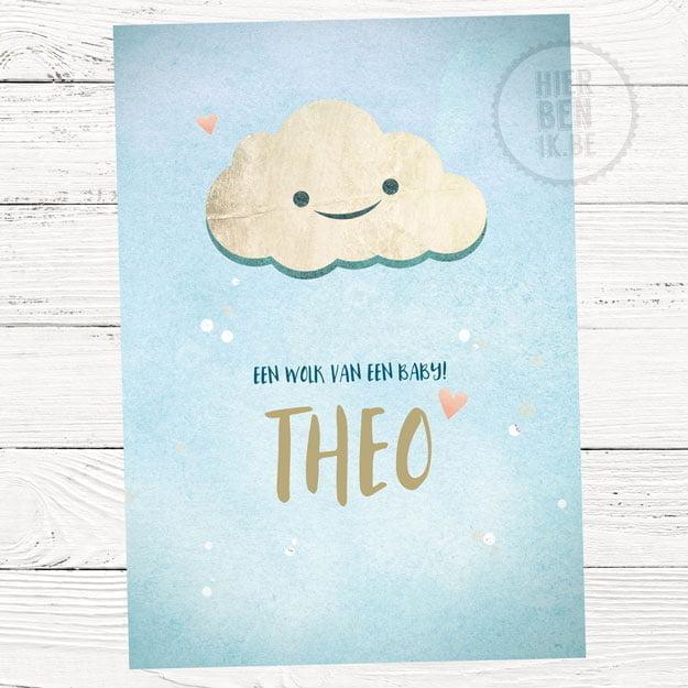 Schattig geboortekaartje met wolk