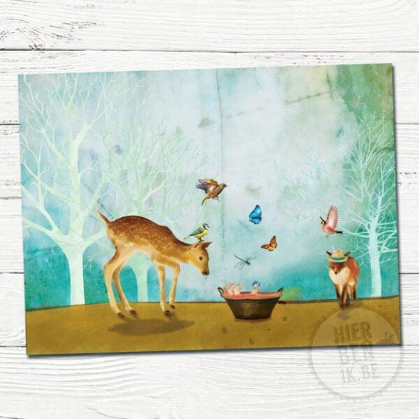 Wenskaart illustratie Bos met Dieren | baby | vos | hert | vlinders | vogels