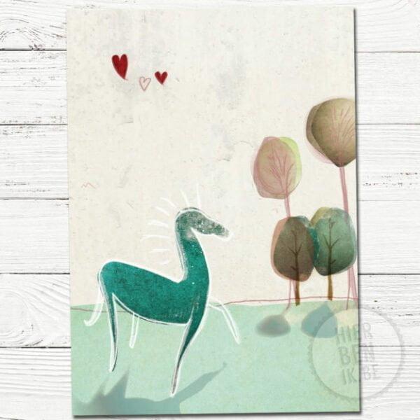 wenskaart illustratie paard | getekend | scandinavisch design | natuur