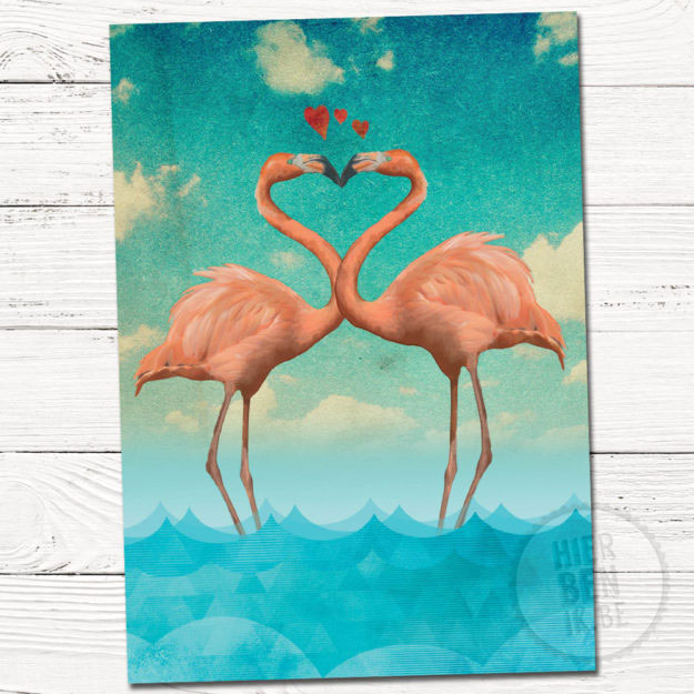 wenskaart illustratie flamingo verliefd | love | zee | tekening