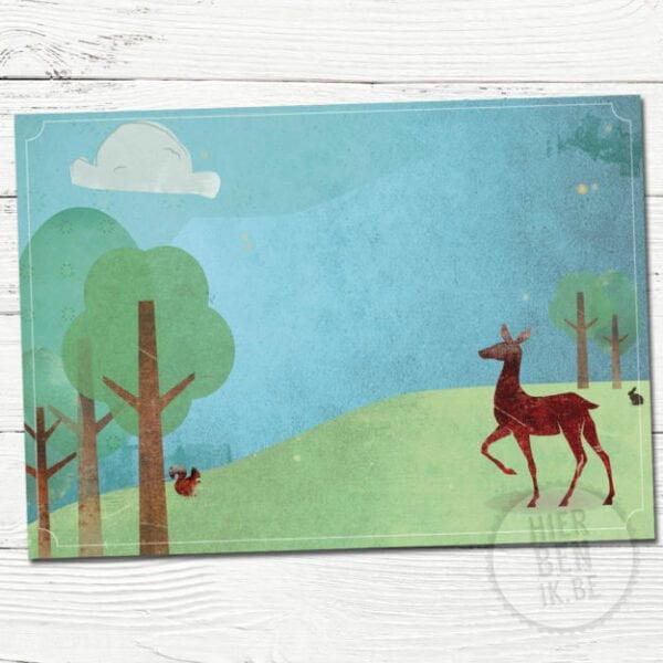 wenskaart illustratie hert in bos | getekende wenskaart | geboortekaartje | babykaartje