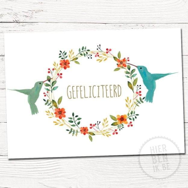 wenskaart met kolibri - scandinavisch ontwerp