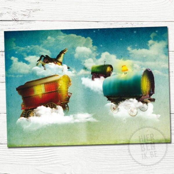 Wenskaart Illustratie vliegende wagens | romantisch | kaart | uitnodiging