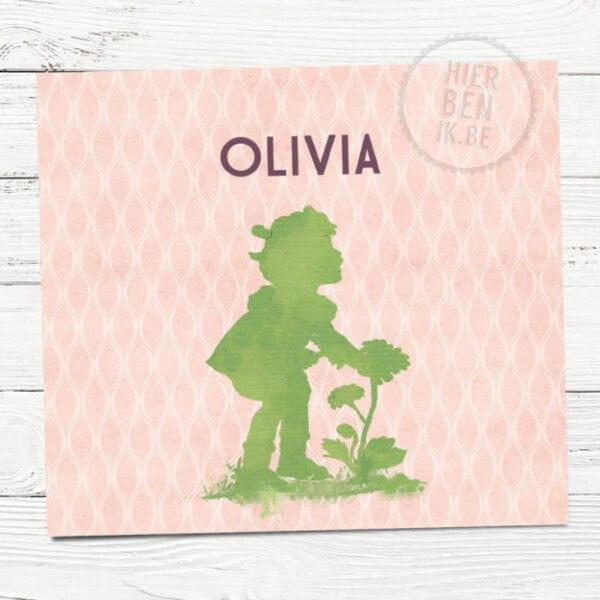 Geboortekaartje met schattig silhouet van meisje en retro patroon.