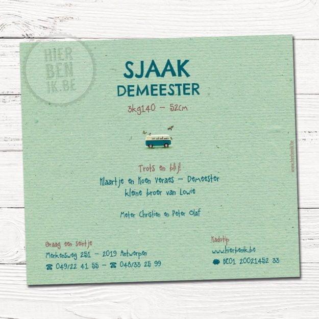 Het geboortekaartje van Sjaak is een design voorzien met een leuk Volkswagen busje en vogeltjes