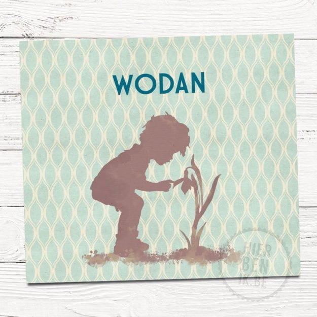 Geboortekaartje met schattig silhouet van jongetje en retro patroon.