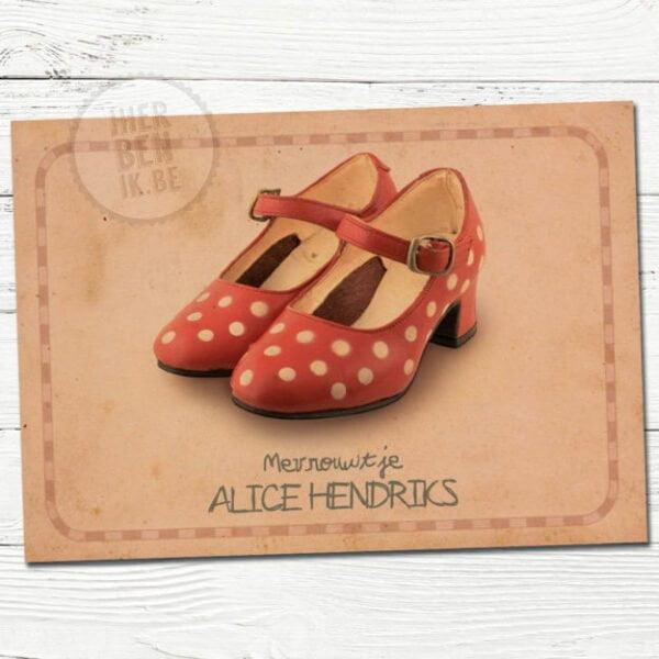 kaartje voor geboorte voor meisje met rode schoentjes