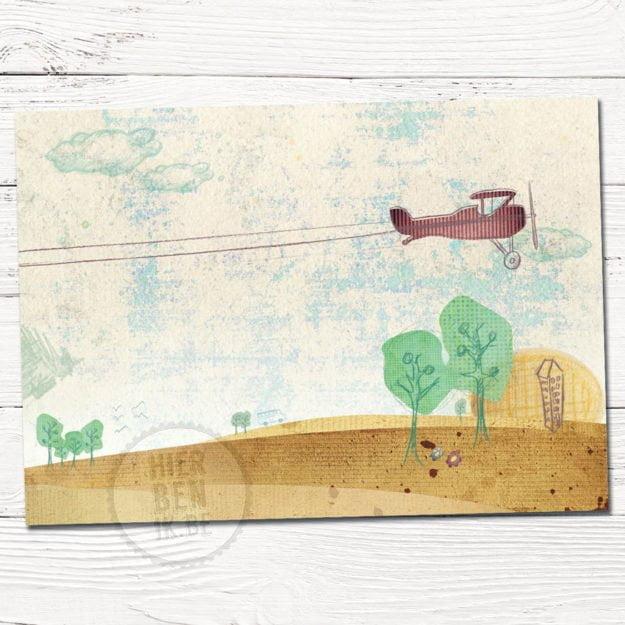Getekend geboortekaartje met vliegtuig en spandoek in natuur