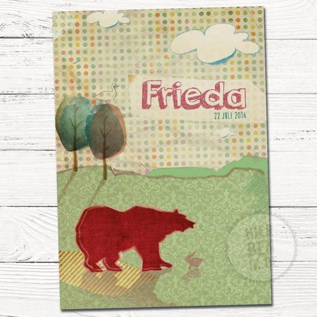 babykaartjes met getekende silhouet van beer in retro achtergrond