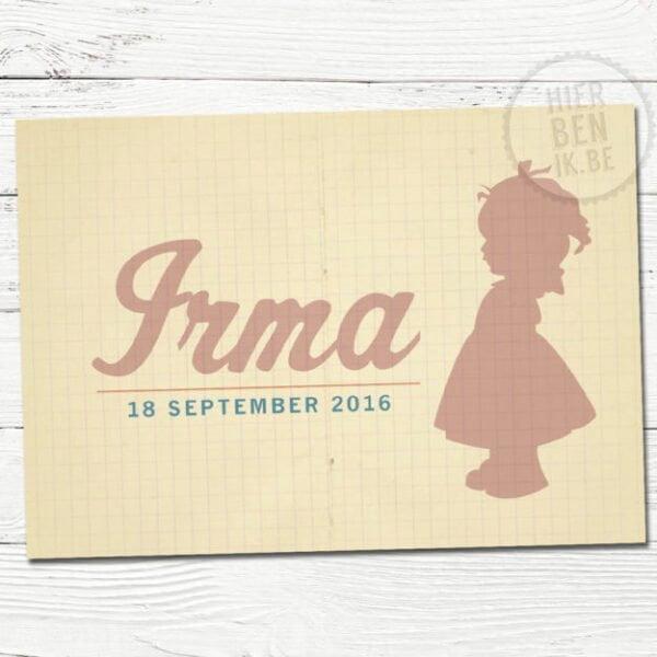 retro geboortekaartje met silhouet van meisje op ruitjes kraft papier
