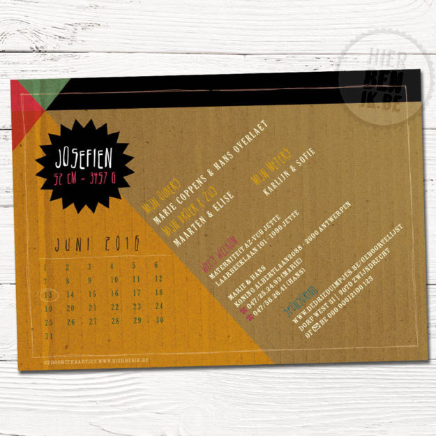 geometrisch design geboortekaartje met kraftpapier en kleuren