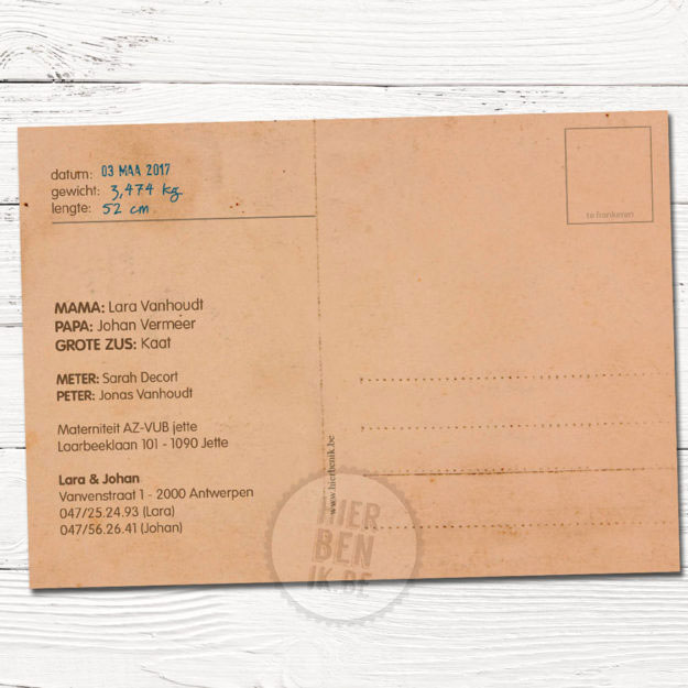 kaartje voor geboorte met hoed en snor meneertje achterkant postkaart