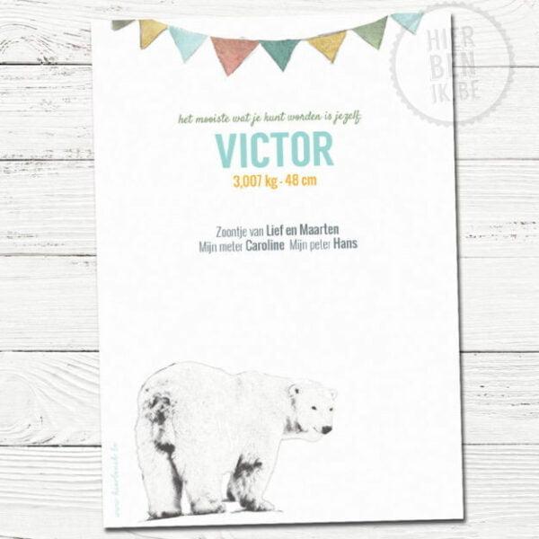 feestelijk geboortekaartje met getekende beer in strak design