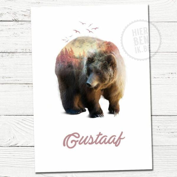 geboortekaartje met beer en natuur dennebomen
