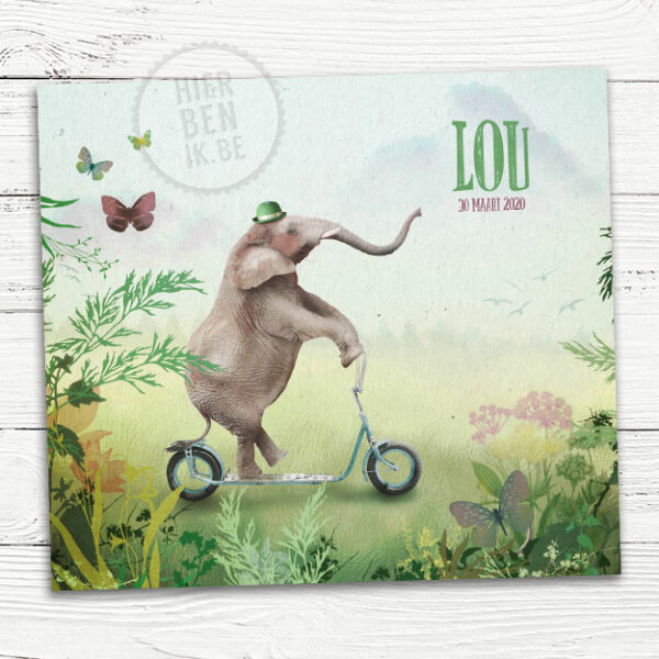 mooie fantasie geboortekaartje met olifant op step, vlinders en natuur