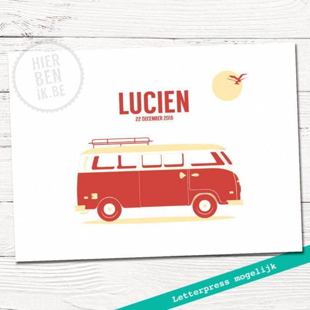 strak geboortekaartje vw busje | babykaartje met bus | letterpress | jongen | scandinavisch | grafisch